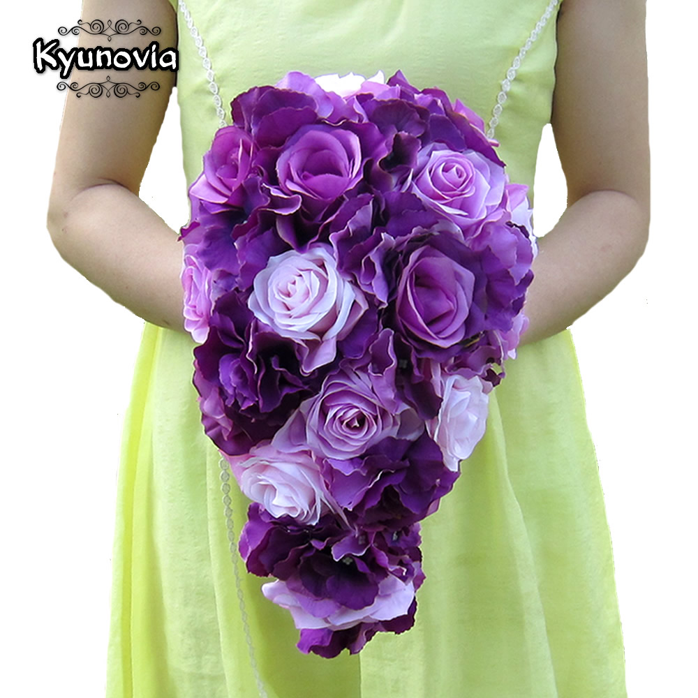 Kyunovia Brief Decoration Cascading Bouquet Bride Teardrop Bouquets Beige Purple Artificial Rose Alternative Wedding Flower FE75