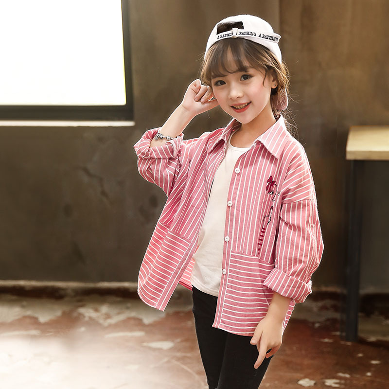f55a79b8 Girls Shirts Autumn 2018 New Kids Stripe Shirts Children Long Sleeve Tops  Toddler Printed Tops Fashion Cotton All Matched,#3234