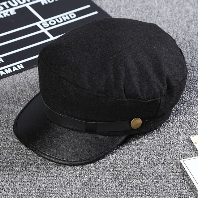 1149cef6 Street Outfits Fashion Stud Captain Hat Casual Black Flat Cap Women's  Clothing Accessories Autumn Winter Cool Girls Beret Hats-in Baseball Caps  from ...