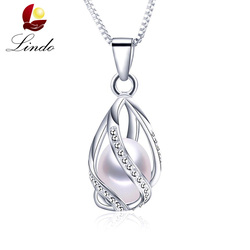 100% Natural Freshwater Pearl Cage Pendant For Women Silver 925 Jewelry White Pearl Necklace With 45 Chian