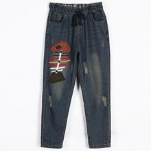 2XL-6XL плюс размер 2017 новая мода женщин хлопка джинсы изношенные Старинные свободная талия лоскутные брюки широкую ногу wj372 бесплатная доставка