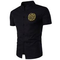 Chinese Style Linen Blended Summer Shirt Men Stand Collar Black White Shirts 2017 Short Sleeve Brand