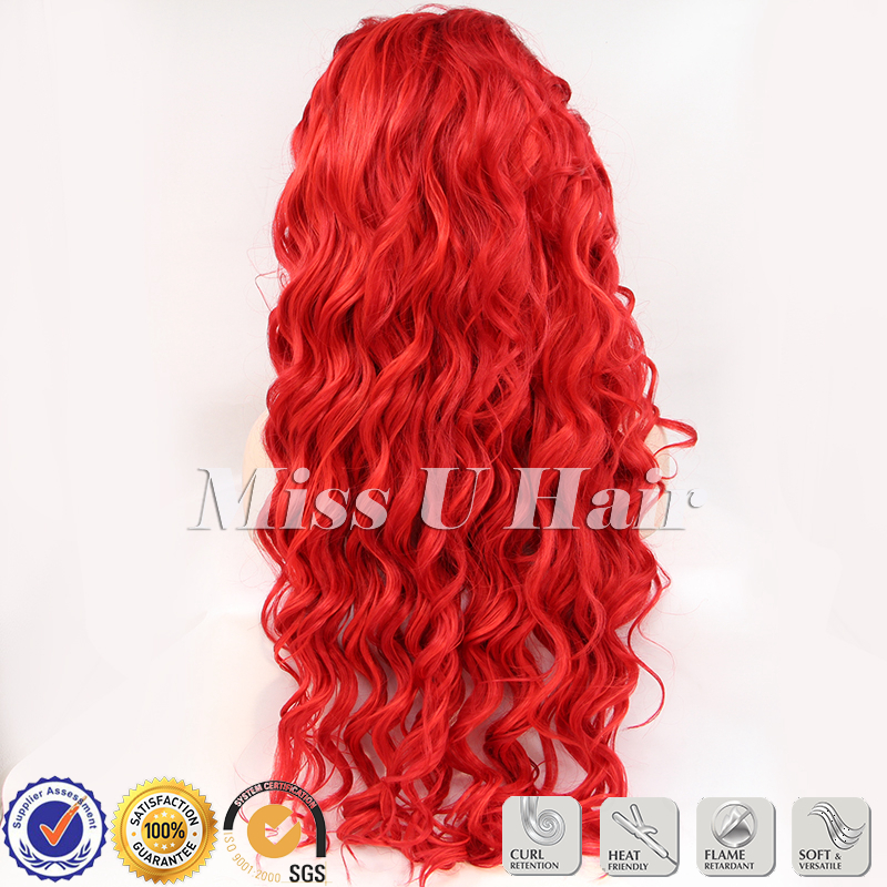 Red Hair Curl Style Synthetic Flame Retardant Fiber Red Lace Front