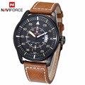 2017 homens pulseira de couro relógio do esporte dos homens novo naviforce militar relógios men quartz hour data relógio de pulso marca de moda