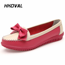 HKOVAL Women Shoes Moccasins Genuine Leather Mother Female Loafers Soft Leisure Flats Ladies Driving Ballet Casual Footwear цена 2017