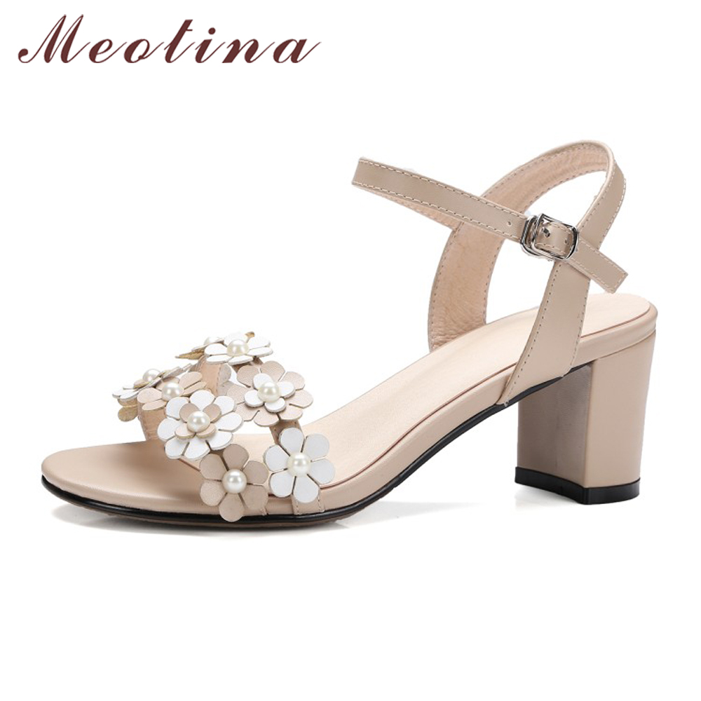 Meotina Genuine Leather Sandals Summer Women Sandals Flower High Heels Ladies Shoes Thick Heel Party Wedding Shoes Size 10 41 42 xiuteng new summer thick high heels sandals genuine leather women shoes flower personality leisure women handmade sandals sapato