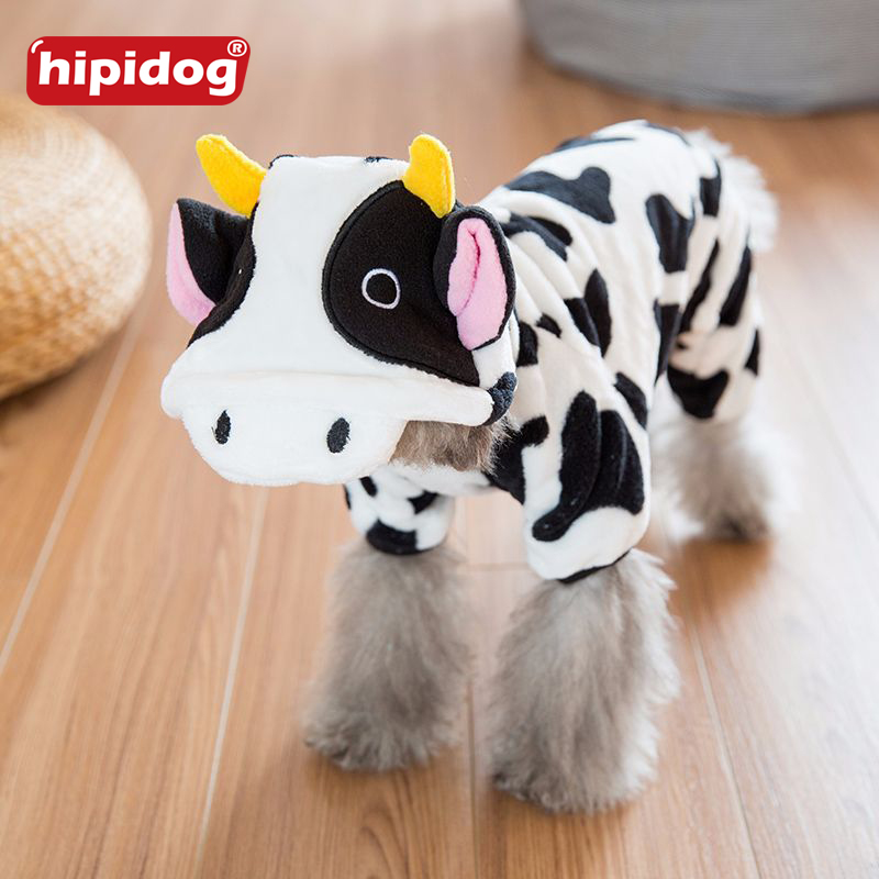Hipidog Small Dog Cow Costume Colthes Hoodies Warm Winter Chihuahua Dog Clothes Velvet Cute Pet Jacket Autumn Jumpsuit Clothing