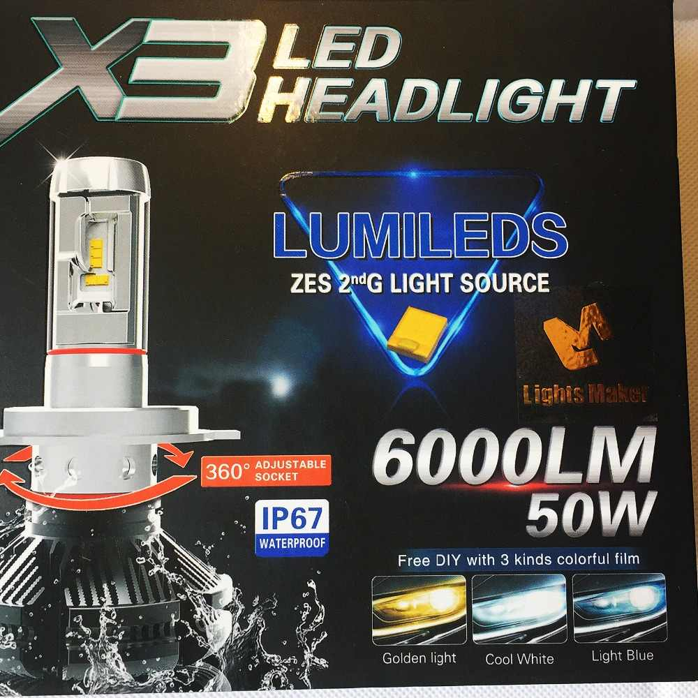 X3 H4 H7 H8 H10 H11 HB3 9005 HB4 9006 9012 5202 H16 Car LED Headlights Bulbs 50W 6000LM All in one LED Headlamp 3000K DIY Change