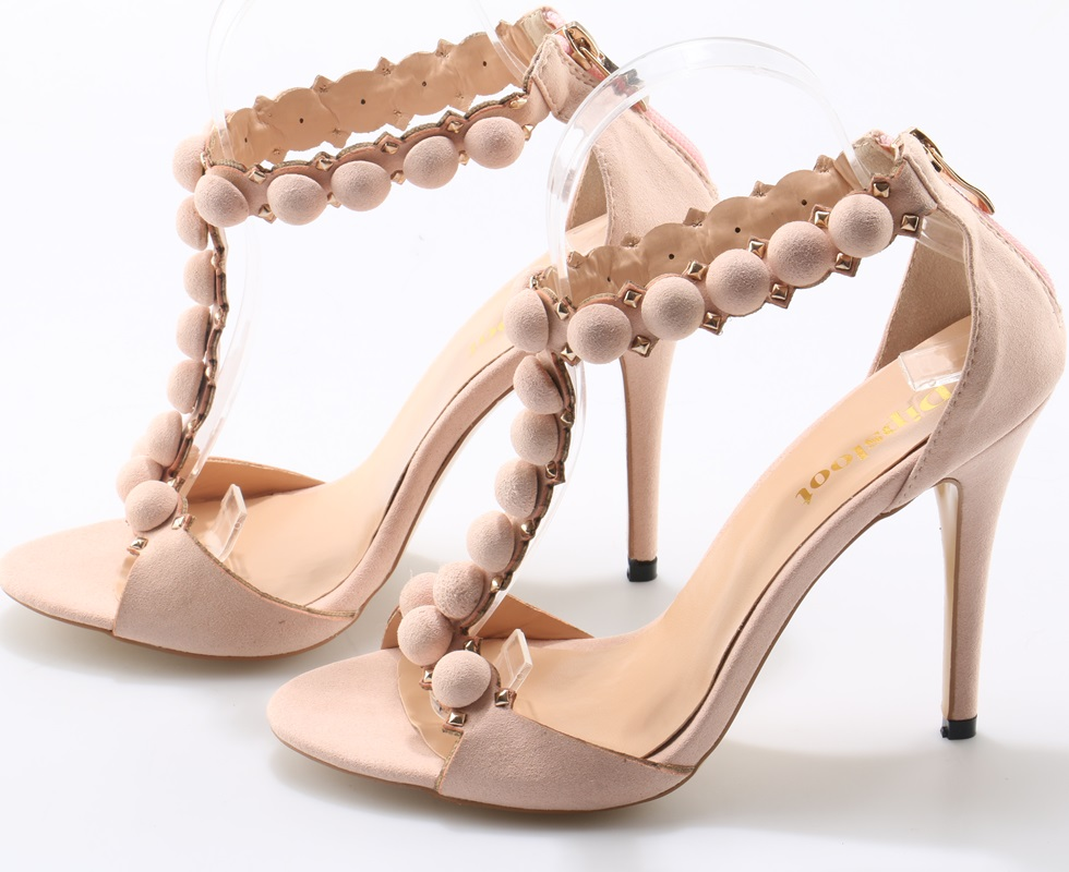 e2ec27a59199 Fashion Nude Pink Suede Leather Women Cute Button T-Strap High Heels Sexy Peep  Toe Ladies Party High Heels Club Stiletto