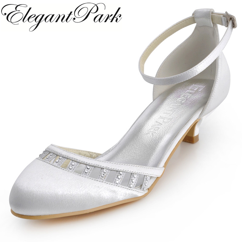 Women Shoes White Ivory Low Heel EL 001 Closed Toe Ankle Strap Comfortable Bride Lady Wedding