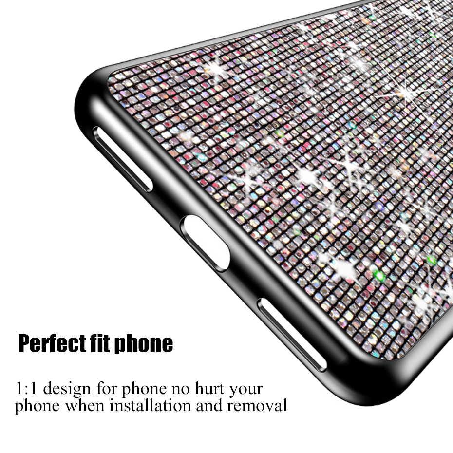 Capa de telefone para xiaomi redmi, 6a note 4 4x 8t 5a 4a 5 plus mi8 mi 8 lite s2 y2 pocophone f1 capas de silicone, capas tpu com glitter