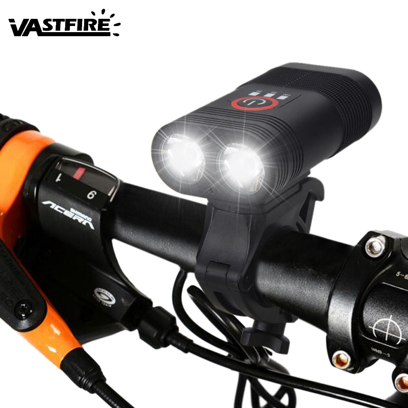 2000lm 2x XM-L T6 LED Cycling Light USB Front Bike Headlight Safety Night Riding Lamp With Built-in Battery