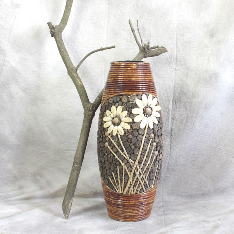 Us 49 0 Christmas Large Bamboo Floor Vase Living Room Decorative Home Art Craft Flower Pot Woven Retro Antique Finish In Vases From
