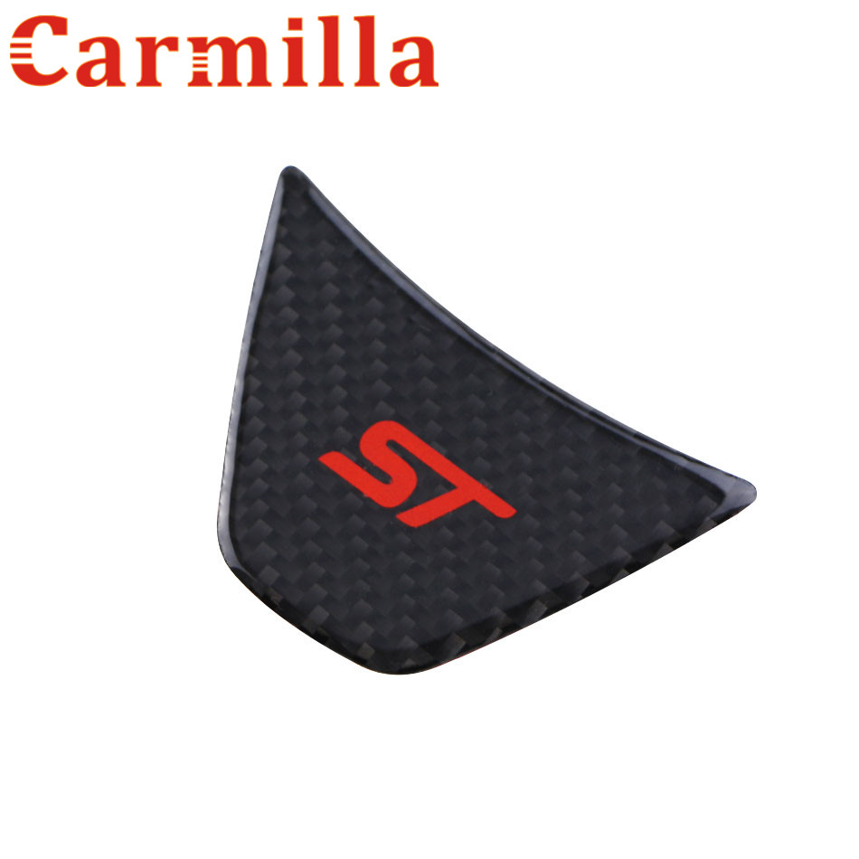 Carmilla Car Carbon Fiber Accessories for Ford New Fiesta MK7 2009 -2017 Ecosport Steering Wheel Decoration Trim Refit Sticker