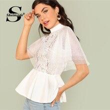 2ba9235a0da764 Sheinside Mock Neck Sheer Shirt White Contrast Lace Ruffle Sleeve Womens  Tops and Blouses Summer Office