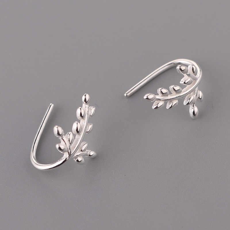 Mới Đến 925 Sterling Bạc Leaf Earrings Phụ Nữ Hot Thời Trang Trang Sức sterling-bạc-pendientes trang sức