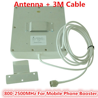 Free Shipping Indoor Dual Band GSM/3G Wall Panel Antenna 800-2500Mhz With 3 Meters Cable For Cell Phone Signal Booster Repeater