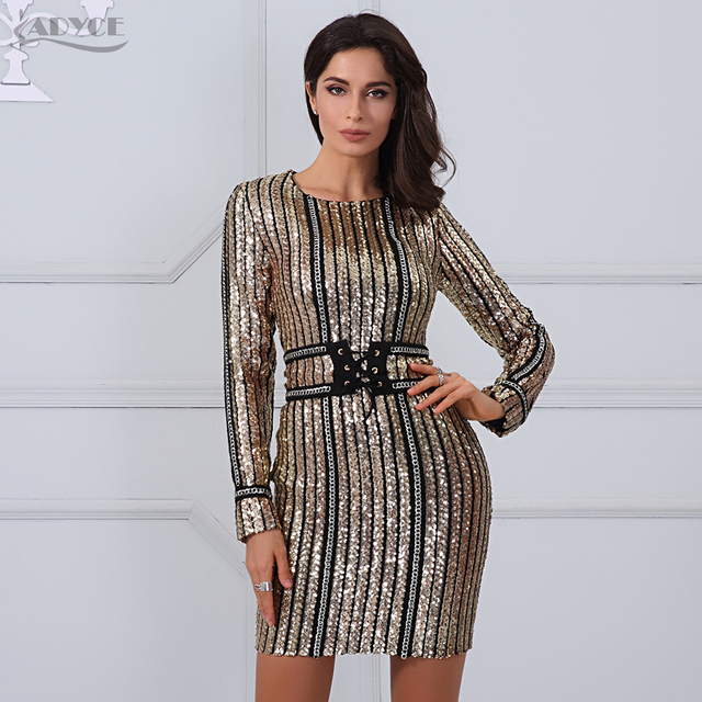 5bb6bb1835 ADYCE 2018 Summer dress luxury Celebrity Runway Dress black O-Neck long  sleeve Sequins striped mesh Women Bodycon Dress Clubwear