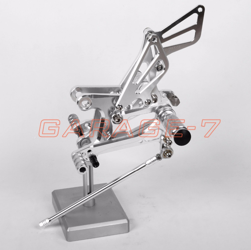 A New Silver CNC Adjustable Rearsets Foot Rests Rear Set For KAWASAKI ZX6R 2005-2008 2006 2007 Motorcycle Foot Pegs