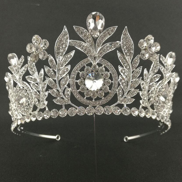 Vintage Rhinestone Prom Floral Big Bride Crown Leaf Crystal Tiara Headbands Bridal Head Jewelry Pageant Wedding Hair Accessories