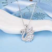 Bella Fashion 925 Sterling Silver Elegant Swan Bridal Necklace Teardrop Cubic Zircon Animal Pendant Necklace For Party Jewelry