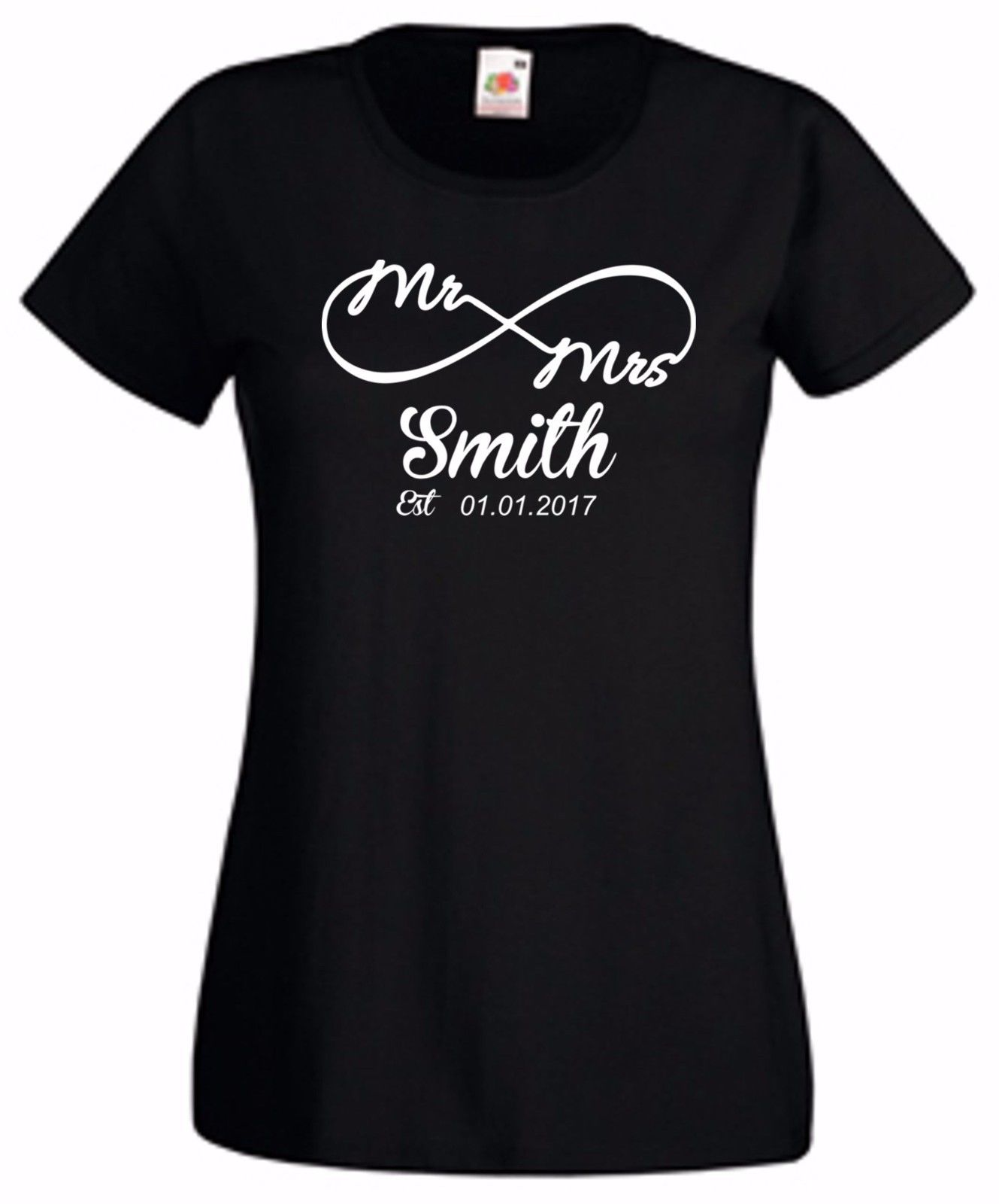 T-shirts Nice Ladies Fun Novelty T Shirt Personalise With Surname Mr And Mrs Est Valentines Summer Casual Man Good Quality Free Shipping Tops & Tees