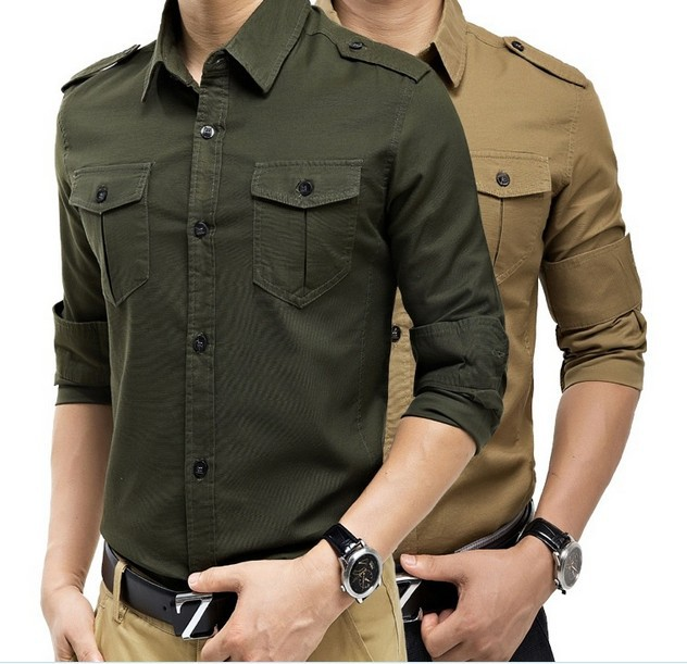 2014 top fall fashion men full sleeves casual shirts army style cotton shirt - free city store