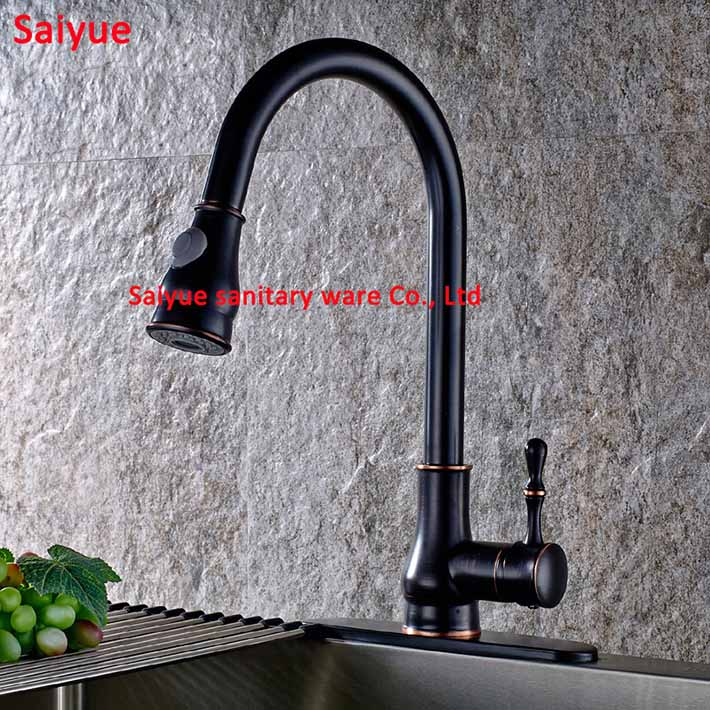 Pull out Antique black Kitchen Bathroom sink faucet Single Handle Lever Swivel Spout Oil Rubbed Brass torneira cozinha Mixer Tap antique brass swivel spout dual cross handles kitchen