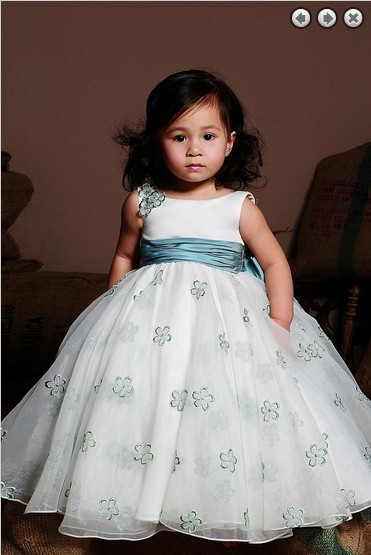 dreses   girls   free shipping new fashion 2017 Party   Dress     Girl's   Pageant Gowns Princess white bow organza   Flower     Girl     Dresses
