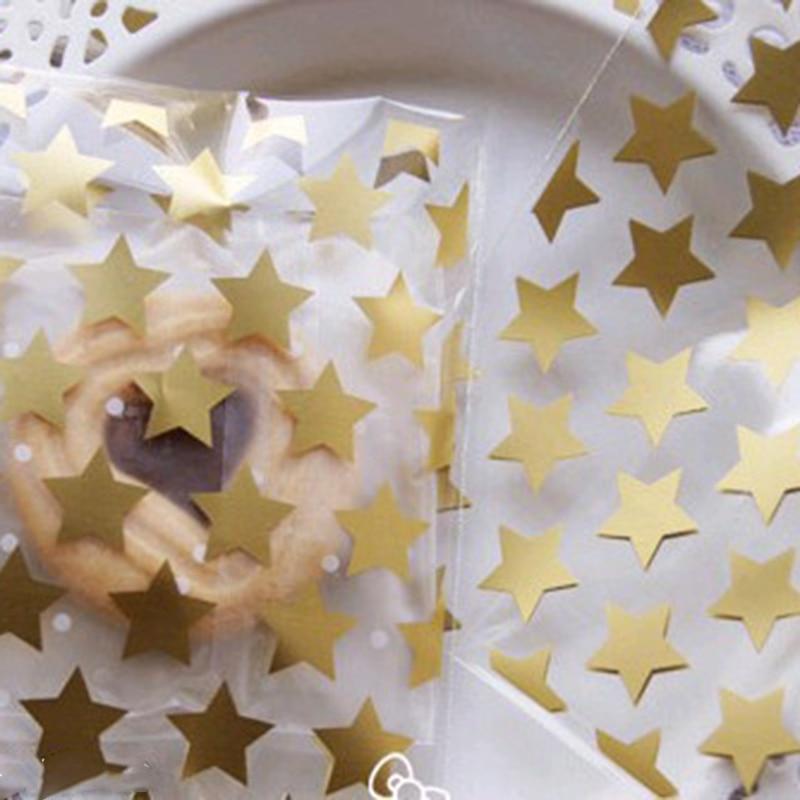 Super Cute Transparent White & Gold Star Printed Self-Adhesive Bags Candy Bag Biscuit Bag 50pcs/lot