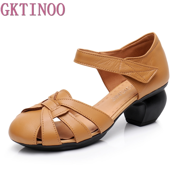 GKTINOO Hollow Out Genuine Leather Women Sandals 2018 Summer Style Retro Platform Sandals Comfortable HighThick Heels Shoes sweet women s sandals with hollow out and platform design