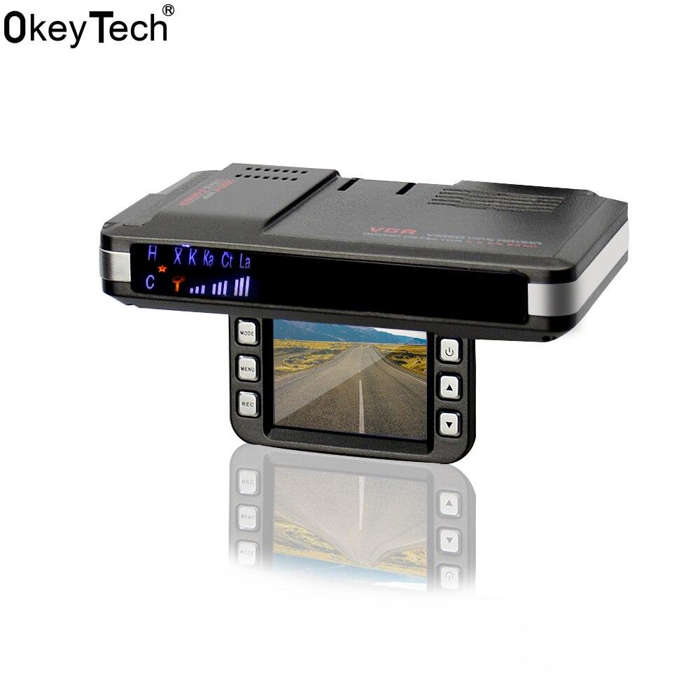 OkeyTech voiture accessoires meilleur voiture DVR Anti Radar enregistreur détecteur de vitesse haute définition 2 en 1 système d'alarme Support g-sensor