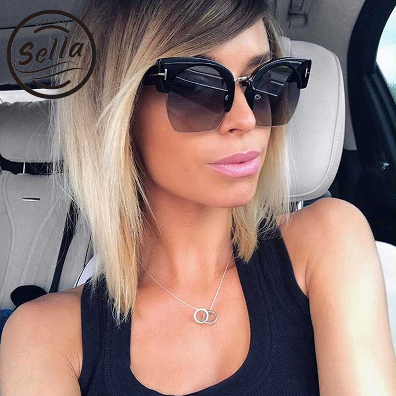 99c2bfcfbea Sella 2018 New Arrival T Brand Fashion Women Cateye Sunglasses Retro  Classic Trending Semi-Rimless