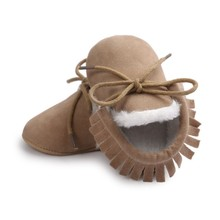 Solid Baby Moccasins Infant Shoes Soft Soled Non-slip Crib PU Leather Warm First walkers