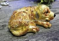 2018 New Dog Hinged Trinket Box Bejeweled Hand painted Ring Holder Animal Figurine Dog Crystal Jeweled Keepsake Jewelry Box