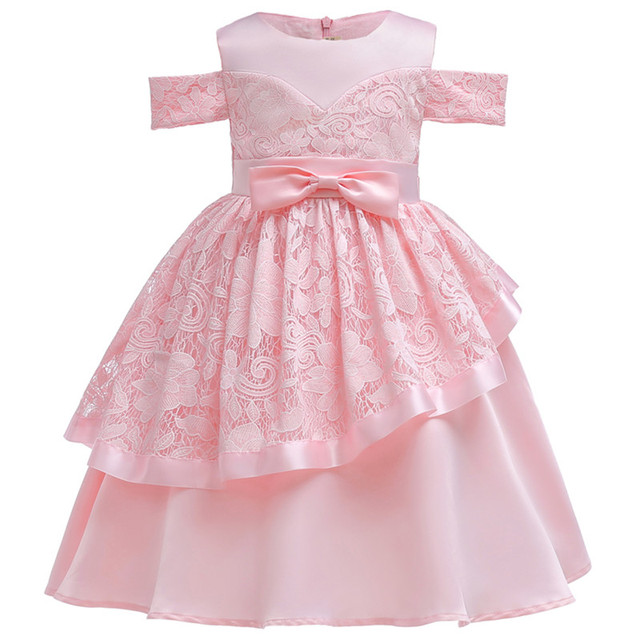 Retail Bow Lace Princess Dress for Girls Baby Reception Forma girls Clothes  Ball Gown For Girl Dress Knee-length Style 4300222fd042