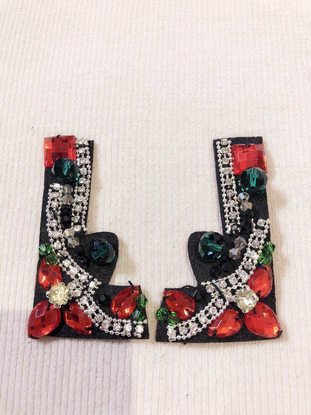 1pair collar coner rhinestone bead crystal sequins patches  applique decoration sewing on patch Clothing accessories Apparel