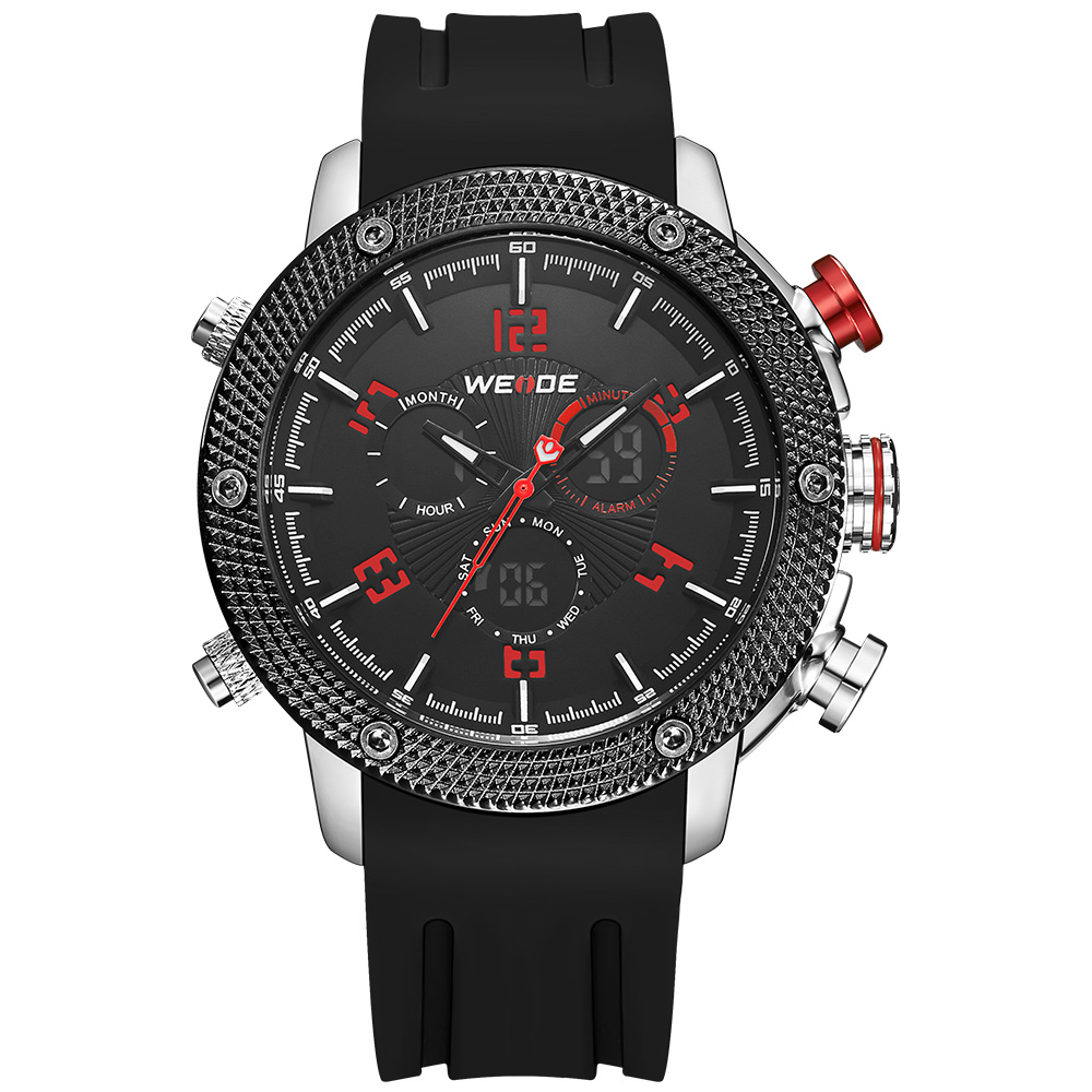 WEIDE Luxury Watches Mens Sports Watches Back Light Analog Date LCD Digital Multiple Time Zone Stopwatch Silicone Strap Red Dial weide casual luxury genuin new watch men quartz digital date alarm waterproof clock relojes double display multiple time zone