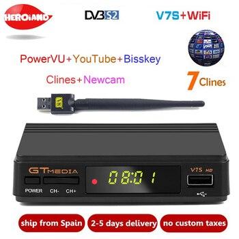 Freesat V7S HD DVB-S/S2 Satellite Receiver FTA Full HD1080P+USB WIFI support YouTube, Biss key,Clines PK FREESAT V7 HD receptor [genuine]dmyco v9s pro usb wifi dvb s2 satellite tv receiver support powervu bisskey necamd youtube youporn pk v8 super