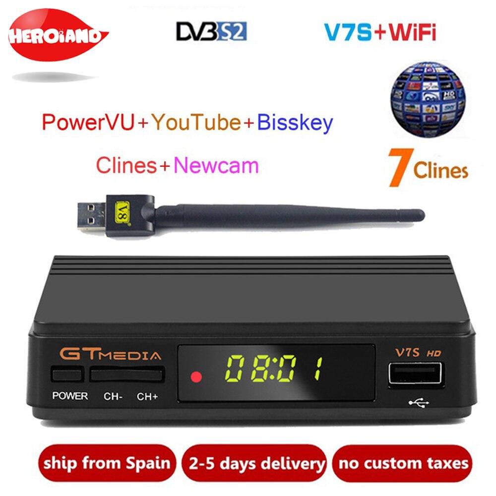 Freesat V7S HD DVB-S/S2 Спутниковый Ресивер FTA полный HD1080P + USB WI-FI поддержка YouTube, Biss ключ, резких перемен температуры PK FREESAT V7 HD приемник