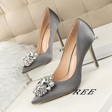 Women's Elegant Rhinestone Silk Satin High Heel Shoes