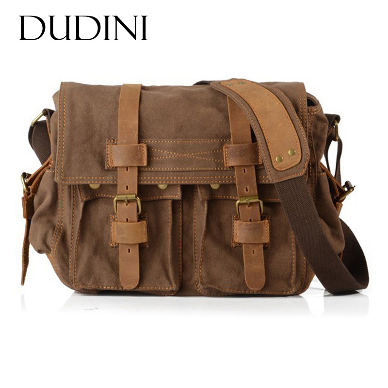 [DUDINI] Canvas Bags With Crazy Horse Leather Men Shoulder Bag Vintage Business Fashion Messenger Bags Crossbody Men's Briefcase aosbos fashion portable insulated canvas lunch bag thermal food picnic lunch bags for women kids men cooler lunch box bag tote