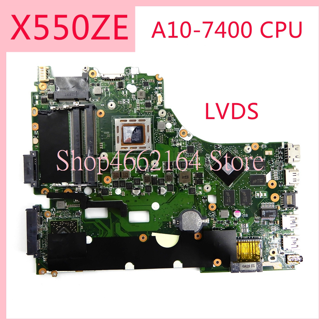 X550ZE motherboard REV2.0 For ASUS X550ZE A10 7400CPU Laptop motherboard X550 X550Z X550ZA Notebook mainboard fully tested-in Laptop Motherboard from Computer & Office