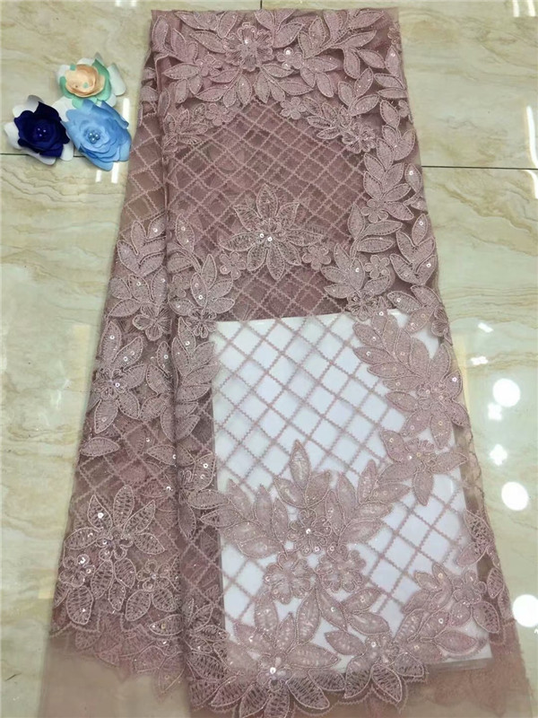 2018 Sequins sequins Nigerian Lace Fabric Bridal Fashion Embroidery African French Lace Fabric 5Yards Tulle Net