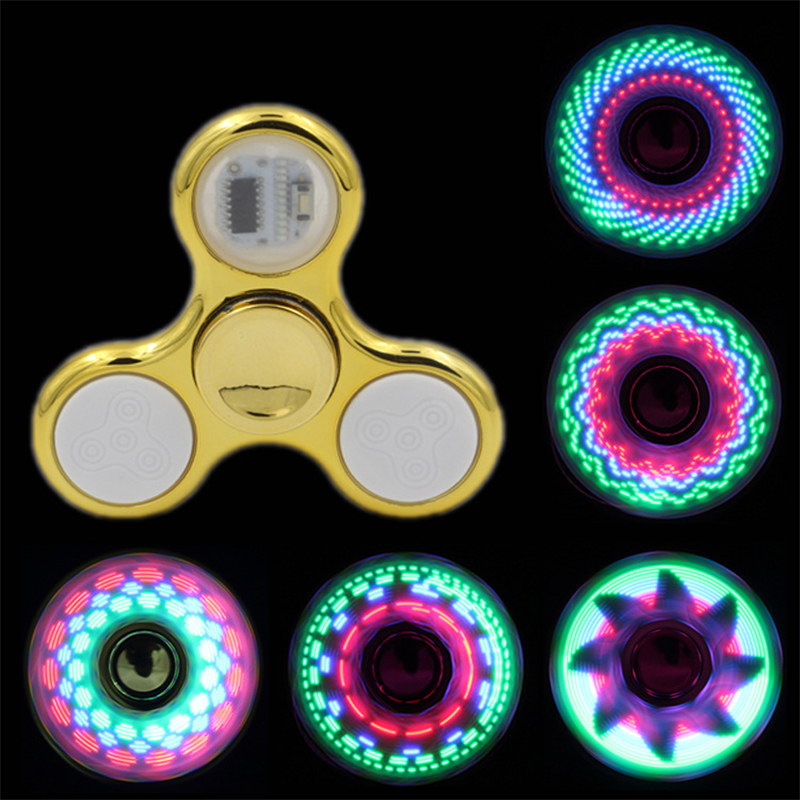 New Electroplating Three Leaf 18 To 36 Change LED Flash Fidget Spinner Toy Flash Finger Gyro Decompression Toy