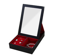 High Quality Jewelry Case with glass for Neckalce Ring Earring Jewelry set gift box for Birthday Wedding 27*20*5.5cm Makeup Case