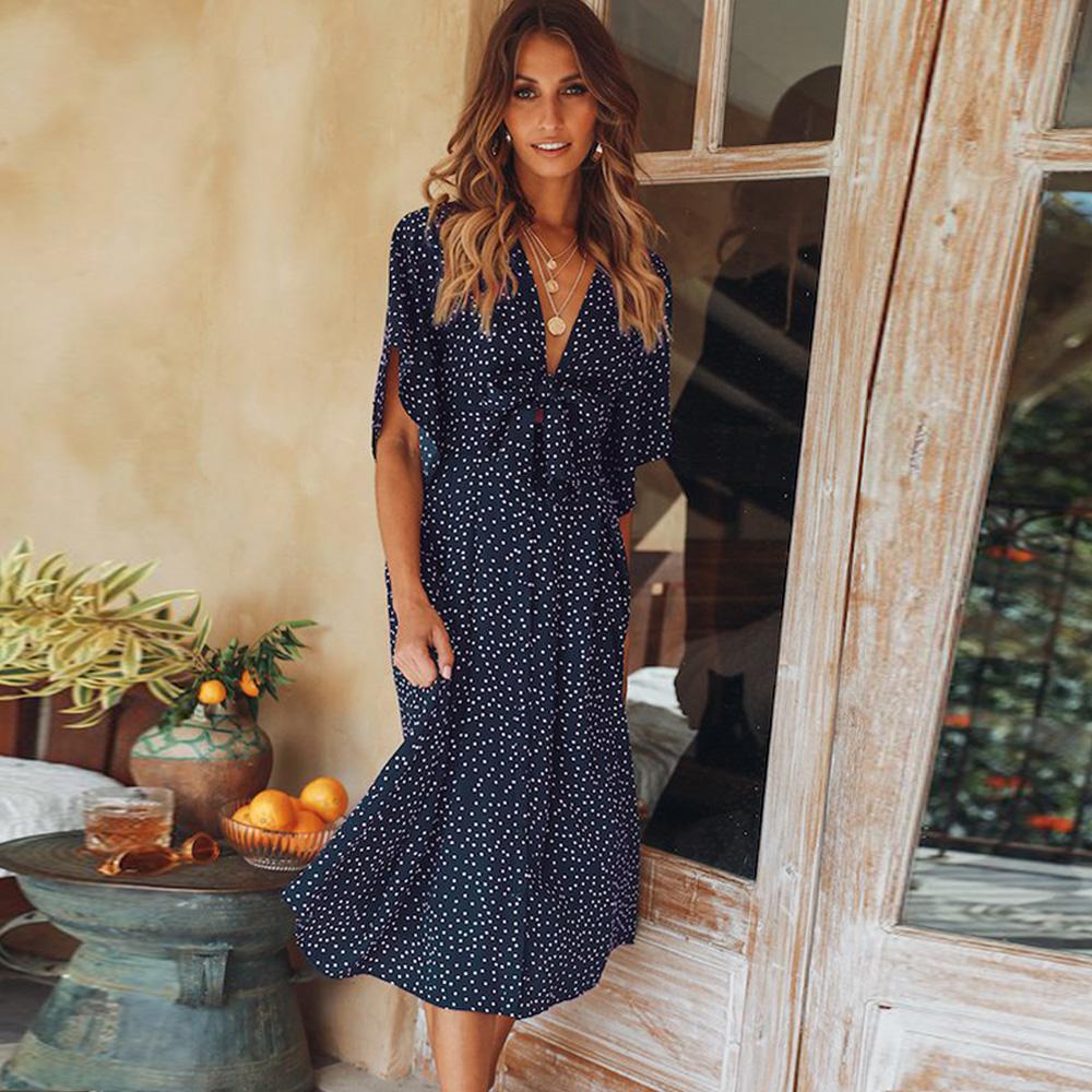 women summer casual bohemian dress Women Short Sleeve V Neck Wrap Boho Dress 6