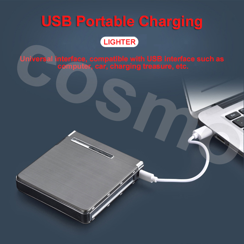 20 Cigarettes 4 color USB Electric Lighters Thin Aluminum Metal Automatic Electronic Cigarette Case Box With USB for Mens gifts in Cigarette Accessories from Home Garden