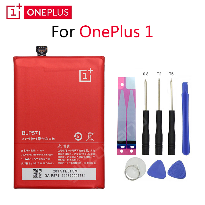 ONEPLUS Original Phone Battery For Oneplus 1 A0001 BLP571 3000/3100mah High Quality Replacement Li Ion Batteries Free Tools