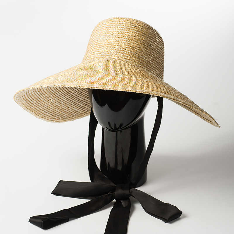 92b1d534 Wide Brim Hat Women Summer Vintage Sun Hat with Ribbon Ties 2018 Beach  Straw Bucket Hatsfor